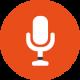 Icon eines Mikrofons auf orangenem Hintergrund. Icon für den Tonstudio Hannover Service Aufnehmen, Recording, Mixing, Mischen und Editing, Schneiden.